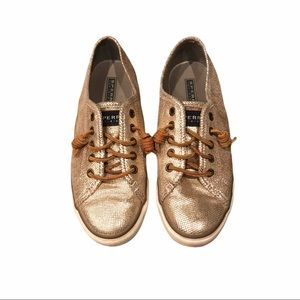 Gold Metallic Sperry topsiders